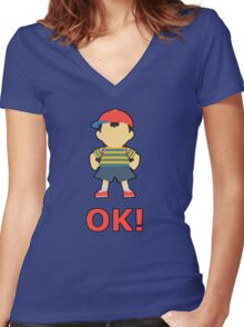 NESS | Super Smash Taunts | OK! Women's Fitted V-Neck T-Shirt