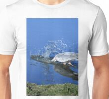Great Blue Heron Diving For Fish Unisex T-Shirt