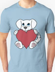 Valentine's Day White Dog with Red Heart T-Shirt