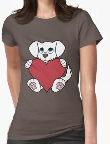 Valentine's Day White Dog with Red Heart Womens Fitted T-Shirt