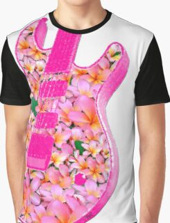 Guitar of Pink Flowers Graphic T-Shirt