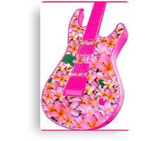Guitar of Pink Flowers Canvas Print