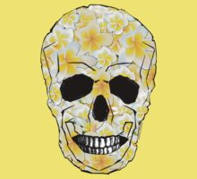 Skull Frangipani Yellow Flowers 1 One Piece - Short Sleeve