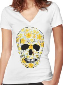 Skull Frangipani Yellow Flowers 1 Women's Fitted V-Neck T-Shirt