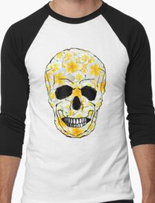 Skull Frangipani Yellow Flowers 1 Men's Baseball ¾ T-Shirt