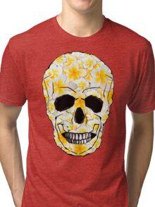 Skull Frangipani Yellow Flowers 1 Tri-blend T-Shirt