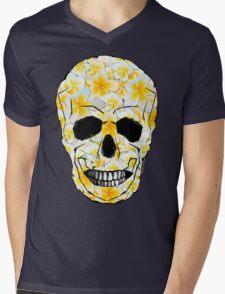 Skull Frangipani Yellow Flowers 1 Mens V-Neck T-Shirt