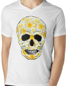 Skull Frangipani Flowers Yellow and White Mens V-Neck T-Shirt