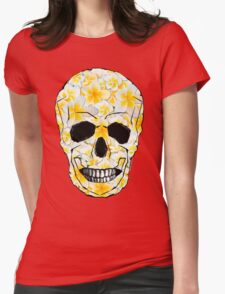 Skull Frangipani Yellow Flowers 1 Womens Fitted T-Shirt