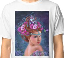Fantasy Woman and red flowers , fashion portrait Classic T-Shirt