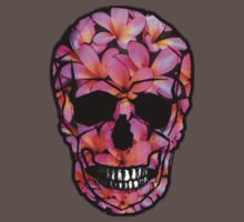 Skull with Pink Frangipani Flowers One Piece - Short Sleeve