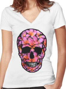 Skull with Pink Frangipani Flowers Women's Fitted V-Neck T-Shirt