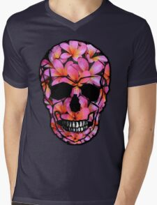 Skull with Pink Frangipani Flowers Mens V-Neck T-Shirt