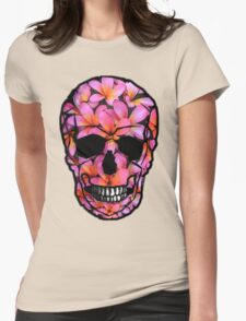 Skull with Pink Frangipani Flowers Womens Fitted T-Shirt