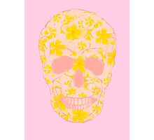 Skull Pale Yellow and Pink Photographic Print