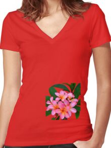 Pink Frangipani Flowers Photograph Women's Fitted V-Neck T-Shirt