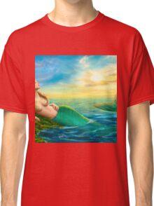 Beautiful  fantasy mermaid at sunset Classic T-Shirt