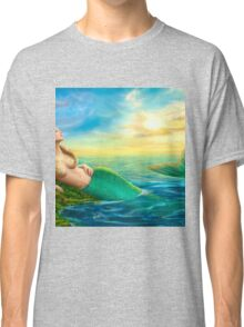 Beautiful  fantasy mermaid at sunset Classic T-Shirt