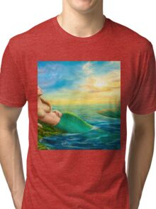 Beautiful  fantasy mermaid at sunset Tri-blend T-Shirt