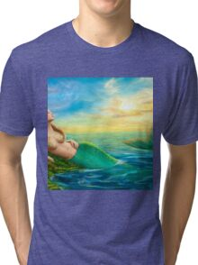 Beautiful  fantasy mermaid at sunset Tri-blend T-Shirt