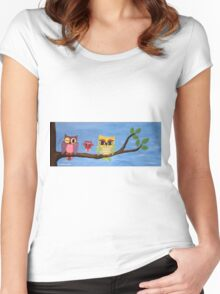 owl family on a tree I Women's Fitted Scoop T-Shirt