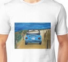 Blue VW bug at beach Unisex T-Shirt