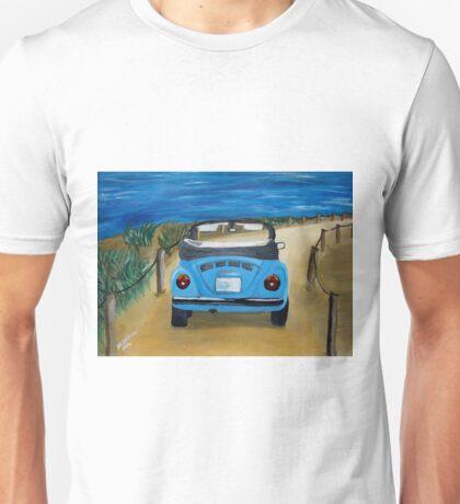 Blue VW bug at beach Unisex T-Shirt