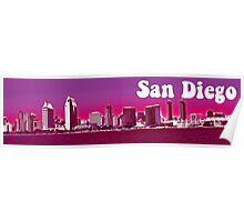 San Diego Skyline Pink Logo Poster