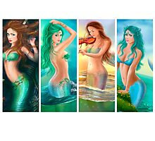 Beautiful Woman mermaids collage.  Photographic Print