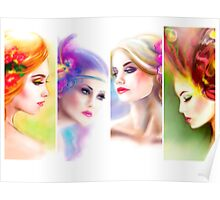 Beautiful Woman fairy face collage Poster