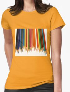 Coloured Pencils Isolated On White Womens Fitted T-Shirt