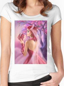 Beautiful fantasy woman queen and red dragon sakura background Women's Fitted Scoop T-Shirt