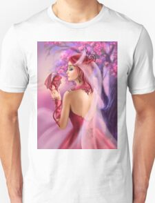 Beautiful fantasy woman queen and red dragon sakura background T-Shirt