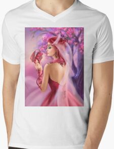 Beautiful fantasy woman queen and red dragon sakura background Mens V-Neck T-Shirt