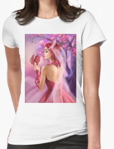 Beautiful fantasy woman queen and red dragon sakura background Womens Fitted T-Shirt