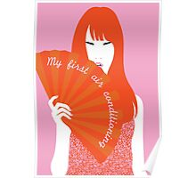 red headed woman with fan Poster