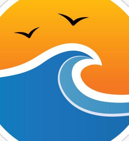 Sun and wave, round sticker Sticker