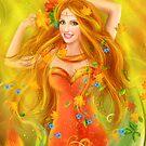 Fantasy Beautiful fairy woman autumn. nature. fashion portrait by Alena Lazareva