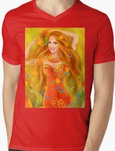 Fantasy Beautiful fairy woman autumn. nature. fashion portrait Mens V-Neck T-Shirt