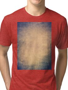 Blue and orange romantic grungy background texture with scratches Tri-blend T-Shirt