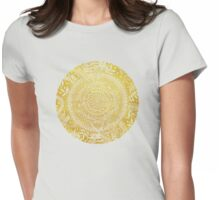 Medallion Pattern in Mustard and Cream Womens Fitted T-Shirt