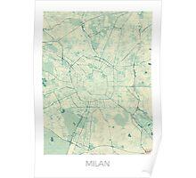 Milan Map Blue Vintage Poster