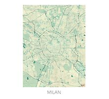 Milan Map Blue Vintage Photographic Print