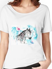 Abstract Ink - Black Arab Horse Women's Relaxed Fit T-Shirt