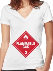 Flammable gas Women's Fitted V-Neck T-Shirt