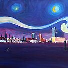 Starry night with Hamburg skyline by artshop77