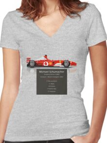 Michael Schumacher  - Ferrari F2002 - Geeky Stats Women's Fitted V-Neck T-Shirt