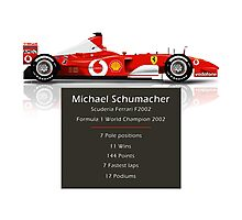 Michael Schumacher  - Ferrari F2002 - Geeky Stats Photographic Print