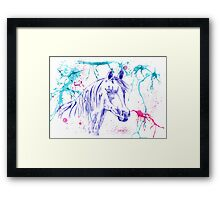 Abstract Ink - Purple Arabian Horse Framed Print