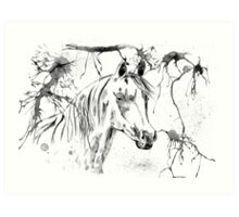 Abstract Ink - Black And White Arabian Horse Art Print
